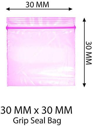 Bolsas de plástico con cierre de cremallera para 200 – 30x30mm, color negro, palo, hojas, verde, señora, transparente con cierre hermético, bolsas de plástico (Rosa)