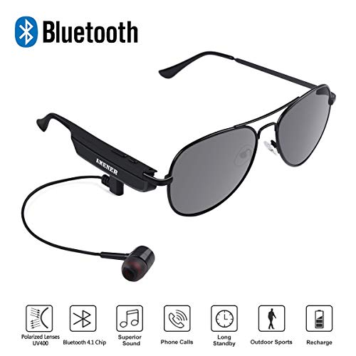AMENER Bluetooth Sunglasses for Men Women Smart Audio Polarized Wireless UV400 Sunglasses Lightweight Stereo Music with Headphone Headset Earbud for Sports Outside Activities Outdoors