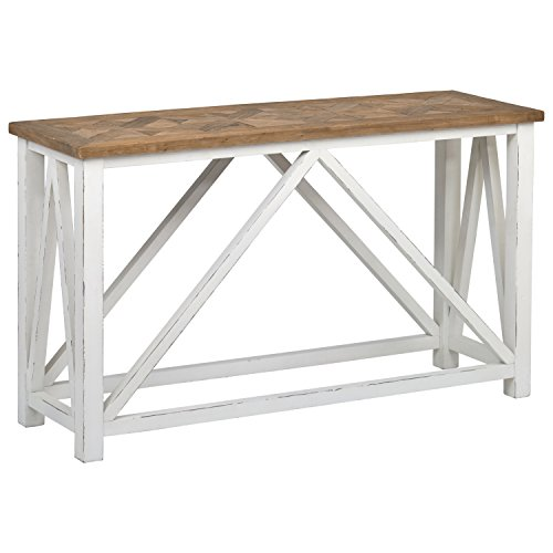 Stone Beam Coastal Breeze Rustic Farmhouse Console Table, 55.1 W, Natural and White
