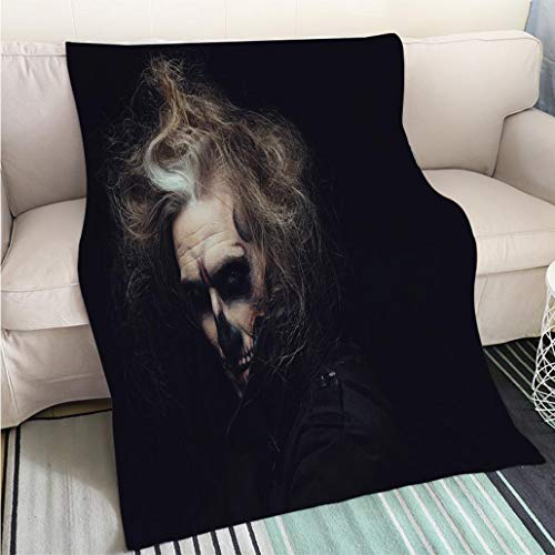 Home Digital Printing Thicken Blanket Portrait of Man with Halloween Skull Makeup Perfect for Couch Sofa or Bed Cool -