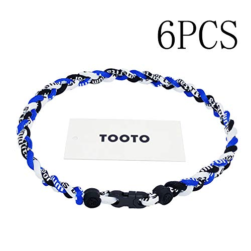 Braided Rope Necklace - TOOTO Pack of 6 Sport Style Tornado Titanium Necklace Three Colors Braided Rope Baseball Necklace-20 Length (Blue & White & Black)
