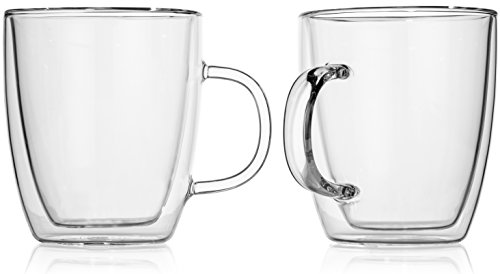 Hudson Essentials Double Wall Insulated Glass Coffee Mugs 12 oz for Tea, Coffee and Cappuccino - Set of 2 Cups
