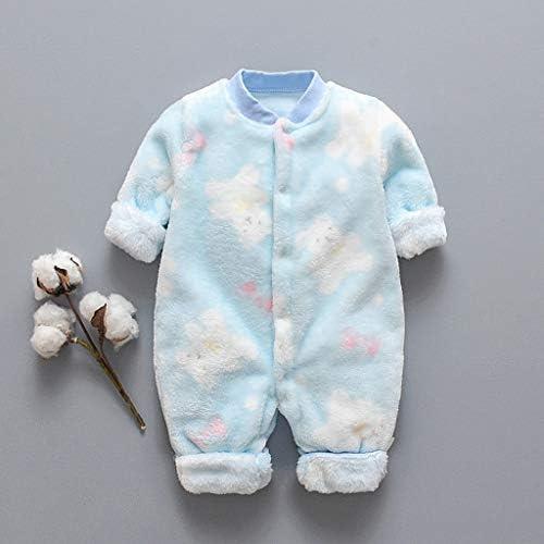 WOCACHI Infant Baby Fleece Pajamas Newborn Cartoon Bear Cat Dinosaur Fleece Warm Button Romper Jumpsuit Cozy Sleepwear