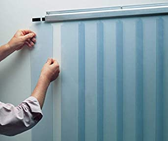 Awoco 38 x 84 Set of 2 Vinyl Strip Climate Control Curtain Kit Coolers and Warehouse Doors NSF Approved Slide-in Strips Perfect for Freezers