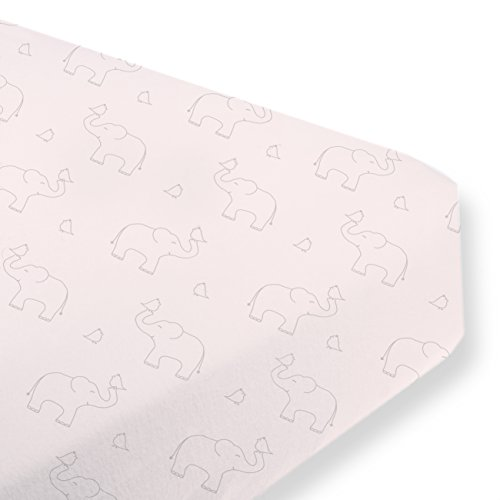 SwaddleDesigns Cotton Crib Sheet, Made in USA Premium Cotton Flannel, Sterling Deco Elephants on Sunwashed Pink ()