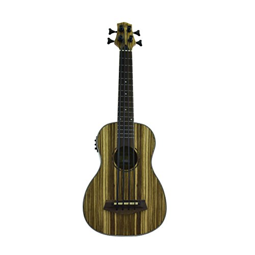 J&D Guitars Acoustic Electric Bass Ukulele with Tuner & EQ, Zebra Wood body from CNZ Audio by J&D Guitars