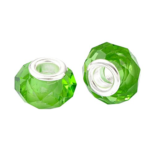 Pandahall 100pcs Glass European Beads Large Hole Beads Round Faceted Rondelle Imitation Austrian Slide Charms with Metal Core for Bracelet Jewelry Makings 14mm Green