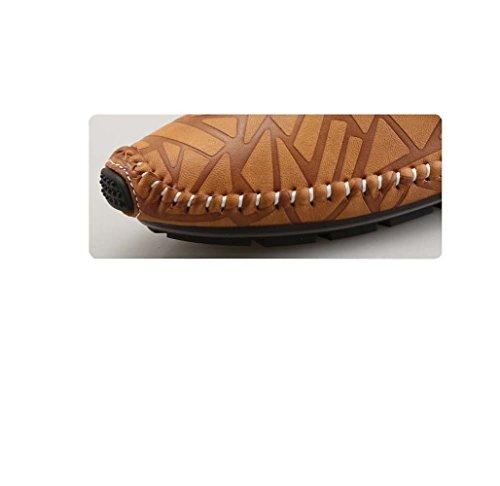 zmlsc Printemps Et Automne Chaussures en Cuir Chaussures pour Hommes Pois Chaussures Casual Vélo Conduite Pied Chaussettes Brown bTCXjUt