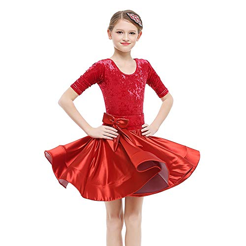 HOU FEI NIAO Dance Costume - Latin Dance Costume Children's Female Competition Standard Clothing Costumes Girls Dance Skirts (Color : Red, Size : 150cm) for $<!--$68.56-->