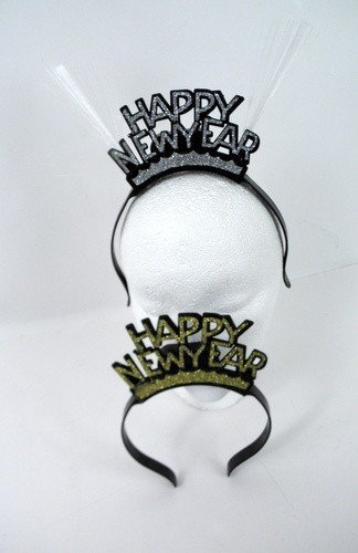 [LED Happy New Year Fiber Optic Head Bopper (Silver or Gold)] (Happy New Year Boppers)