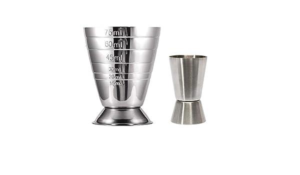 Vaso medidor de vino de acero inoxidable color plateado 75 ml GTWCK