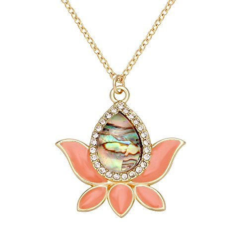 - CHUANGYUN Lotus Flower Abalone Shell Pendants, Fashion Luminous Necklace (Pink)