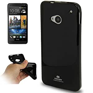 Shimmering Powder TPU Protection Case Cover Carcasa para HTC One/M7 (Black)