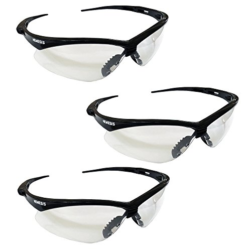 - Jackson Safety V30 Nemesis Safety Glasses (25676), Clear with Black Frame, 3-pack