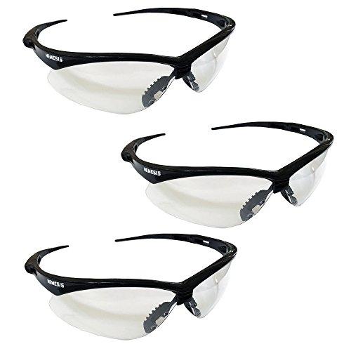 Jackson Safety V30 Nemesis Safety Glasses (25676), Clear with Black Frame, 3-pack