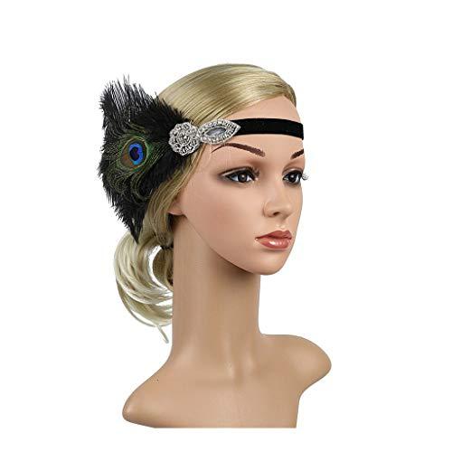 Vintage Flapper Headband Great Gatsby Headpiece with Feather Kentucky Derby Wedding Hair Accessories Black (Green)