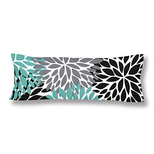 Pinnata Flower Teal Black Gray Pillow Covers Pillowcase with Zipper 21x60 Twin Sides, Rectangle Body Pillow Case Protector for Home Couch Sofa Bedding Decorative ()