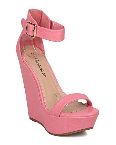 Breckelles Kvinnor Läder Plattform Kil - Dressy, Sommar, Trendig - Ankelbandet Häl - Gg44 Av Pink