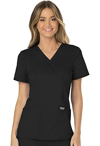 WW Revolution by Cherokee WW610 Women's Mock Wrap Scrub Top, Black, 2XL by WW Revolution by Cherokee
