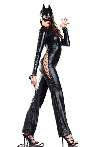 Ninimour- Fashion Women's Wetlook Catsuit Romper Dress Stripper