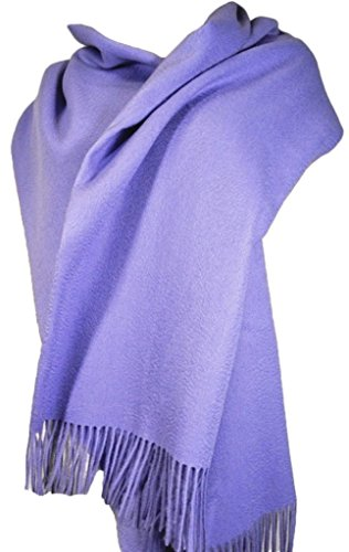 Long Wool Natural (Wool Stole, Large Long Scarf, Shawl, 100% Wool, 78x28 inch, Natural material, Model B0101 (Light Purple))