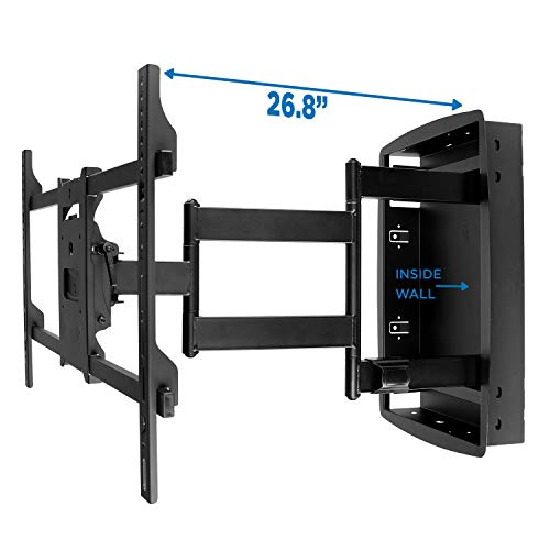 (Mount-It! Recessed TV Wall Mount, Articulating Full Motion in-Wall TV Bracket for Flush Installation, 28 Inch Extended Arm Fits Screen Sizes 32, 37, 40, 42, 47, 50, 55, 60, 65, 70 inch, Up to 175 lbs)