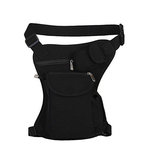 Bolso de Cintura Bolso de Pierna de Tela de Lona para Hombre para el Deporte al Aire Libre Negro