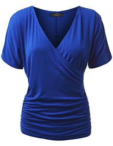 WT1118 Womens V Neck Short Sleeve Wrap Front Drape Dolman Top XXL Royal_Brite
