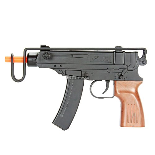 BBTac M37F Airsoft Spring Pistol SMG 200 FPS with Over Folding Wire Stock and Faux Wood Grip (Spring Submachine Gun)