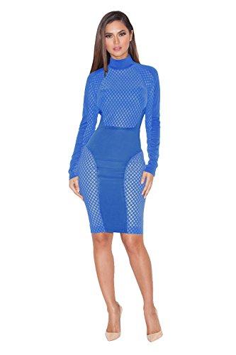 Neue Damen Plus Größe Blau Jumbo Fishnet Einsatz lang Sleeve ...