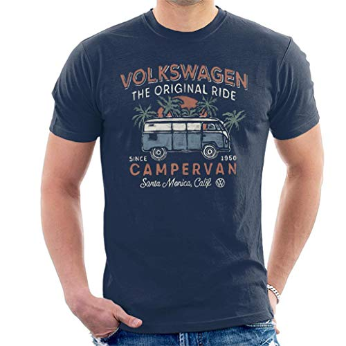 Volkswagen The Original Ride Campervan Men's T-Shirt Navy Blue