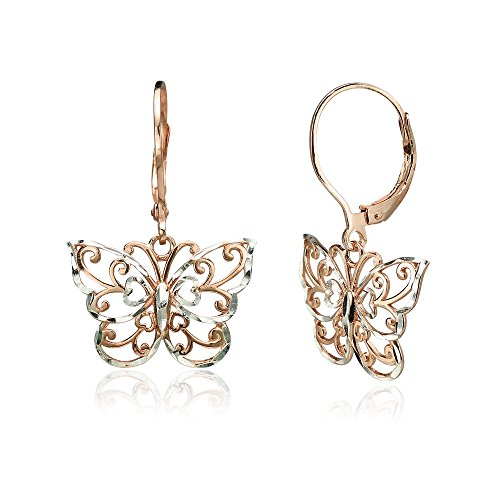 Butterfly Earrings Leverback (Rose Gold Flashed Sterling Silver Two-Tone Diamond-cut Filigree Butterfly Dangle Leverback Earrings)