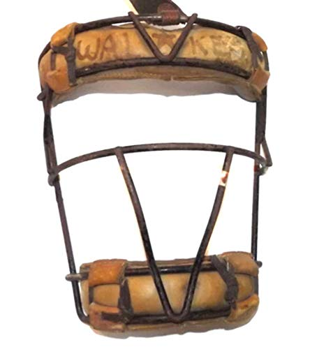 Early Antique Metal Wire Cage & Leather Baseball Catcher's Mask Helmet Face Guard ()
