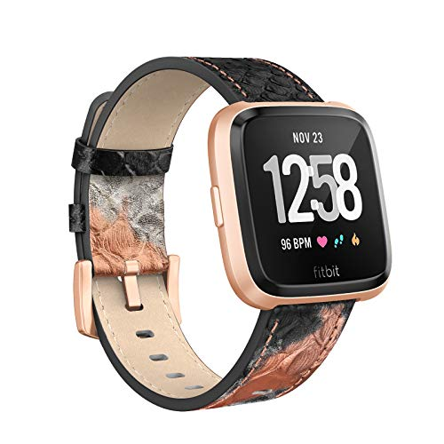 SWEES Leather Bands Compatible Fitbit Versa, Genuine Leather Dressy Band Strap Wristband Replacement Women Men Small & Large, Rose Gold, Black, Brown, Grey, White, Tan