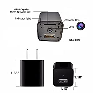 1080P Wifi Charger Hidden Spy Camera – DENT Products HD P2P Wireless Wifi Video Camcorder with Motion Detection, Pet Nanny Cam, USB AC Wall Plug Adapter for phone, Remote View, support 128GB SD by DENT Products
