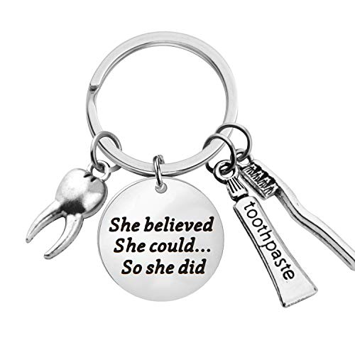 Lywjyb Birdgot Denist Gift Dental Gift Future Dentist Gift Dentist Graduation Gift She Believed She Could So She Did Keychain New Dentist Gift Dental Student Gift (Denist Keychain) ()