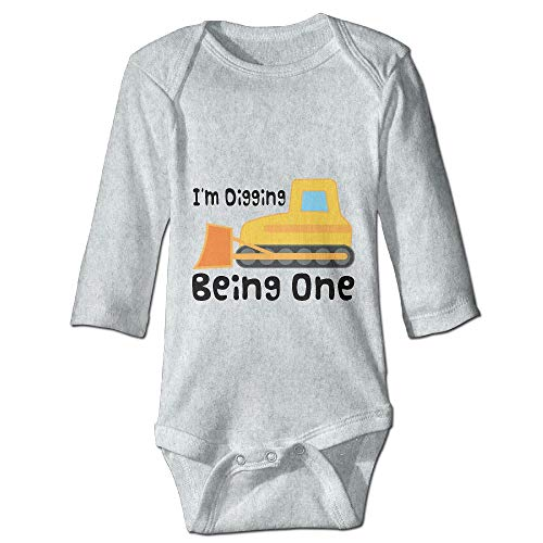 PUREYS-I Printed 1st Birthday Construction Truck Funny Newborn Baby Girl Infant Long Sleeves Playsuit Outfit - Birthday 1st Construction Outfit