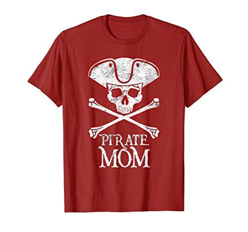 PIRATE MOM Funny Halloween T-Shirt | Skull Captain -
