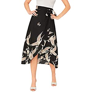 Verdusa Women's Sexy Boho Floral Split Thigh Zipper High Waist Swing Midi Skirt