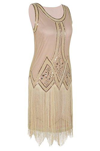 1920s Vestido Flecos Perlas Champagner Vintage Inspirado Charleston Mujered PrettyGuide Beige Negro 6x45C