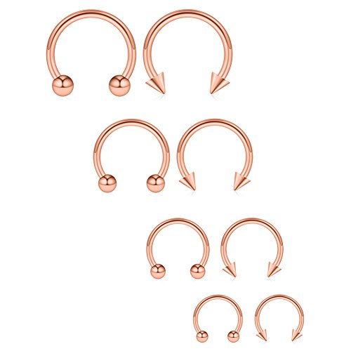 (Ruifan 8PCS Surgical Steel CBR Nose Septum Horseshoe Earring Eyebrow Tongue Lip Piercing Ring with Balls & Spikes 16G 6-12mm - Rose Gold)