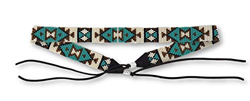 Hat Band, Hatbands for Men and Women, Leather Straps, Cowboy Beaded Bands, White, Blue Turquoise, Gold Handmade in Guatemala 7/8 Inches x 21 Inches