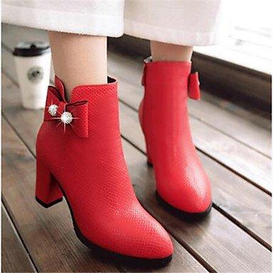 Cuero Botas amp;xuezi Mujer Casual Cms Pu Gll Nobuck 12 Confort Black 10 Primavera Negro Otoño Blanco Rojo TFRHnWqq