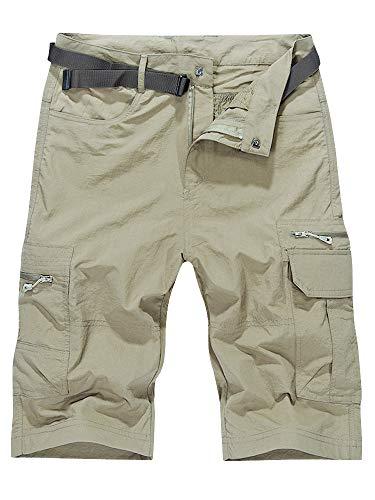OCHENTA Men's Outdoor Water-Resistant Quick Dry Cargo Shorts Beige Size XL - US 32