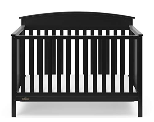 Graco Everly 5-in-1 Upholstered Convertible Crib with Reversible Headboard Black/Gray Easily Converts to Toddler Bed Day Bed or Full Bed Adjustable Height Mattress (Mattress Not Included)