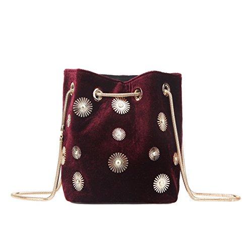 Fawziya Metal Flower Vintage Style Handbag Adjustable Chains Velvet Burgubdy Clutch-Red