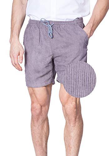 Visive Shorts for Men Elastic Waist Corduroy Drawstring Basic Essentials Short Medium Grey