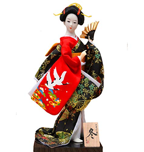 "Key-Sun Black Japanese Geisha Kimono Doll - 12"" (30cm), Asian Kimono Doll Collectible Figurine Decoration Gift"