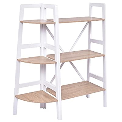 Giantex 2 Pcs 3 Tier Corner Bookshelf and Ladder Bookcase Set Ladder Wall Stand Holder Organizer Rack Storage Shelves - Stable Construction- This corner bookshelf and bookcase set is mainly made of MDF that is solid and durable and makes this set serve long time. The X shape shelf on the bookcase back offers enough support for three tiers. The triangle frame and fan-shaped tier enables the whole corner shelf to stand firmly. Perfect Bookshelf Portfolio- The corner bookshelf and ladder wall stand have same height and each tier is in alignment. The two frames perfectly matches. This set provides you much more space to store and display your decorative or home living accessories. The distance between each tier is also far enough for you put your photo albums or any other things. Easy to Assemble- Both bookshelves are simple to be assembled. All parts are listed in the detailed assembly manual. Assembly steps are specific and easy for you to understand. - living-room-furniture, living-room, bookcases-bookshelves - 416eKbBjs0L. SS400  -