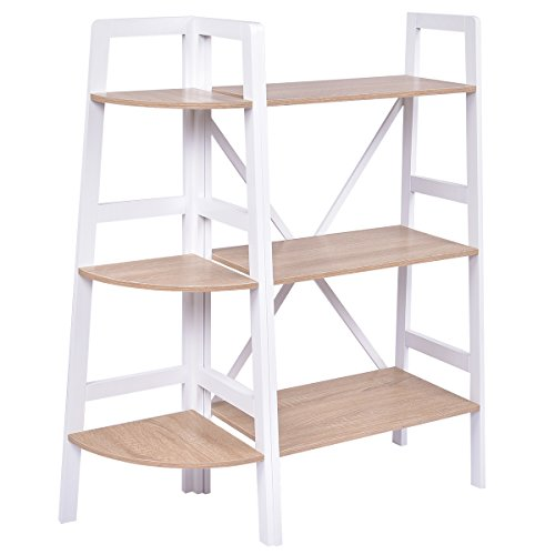 Giantex 2 Pcs 3 Tier Corner Bookshelf and Ladder Bookcase Set Ladder Wall Stand Holder Organizer Rack Storage Shelves -